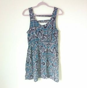 Ladder Back Blue Fit and Flare Dress